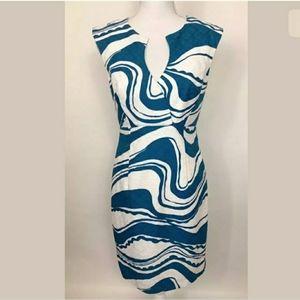 Trina Turk Jacquard Swirl Blue Sheath Dress